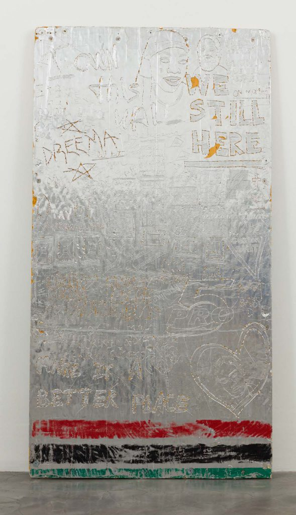 Lauren Halsey, og marvelous marv / lil bit / keep it clean, 2016. Foam and glitter, 96 x 48 inches.