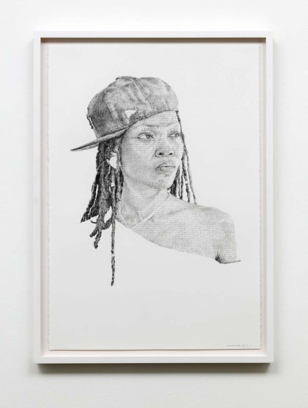 Kenturah Davis, Nkechi, from Infinity Series, 2016. Hand-written graphite text on paper, 38 x 26¼ inches.