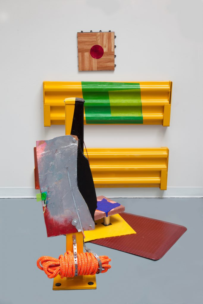 Detached Detail, 2016. Industrial metal fencing, dance floor tile, leather, vinyl, rope, hardware, floor tile, floor mat, masonry square tile, bent metal rod, and acrylic and oil paint. © Jessica Stockholder. Courtesy of the artist and Mitchell-Innes & Nash.