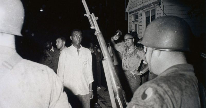 Stokely Carmichael, Confrontation with National Guard, Cambridge, Maryland, 1964. Gelatin silver print Image 16.5 x 22.2 cm (6 1/2 x 8 3/4 in.); sheet 20.3 x 25.4 cm (8 x 10 in.) Collection of the High Museum of Art, Atlanta;