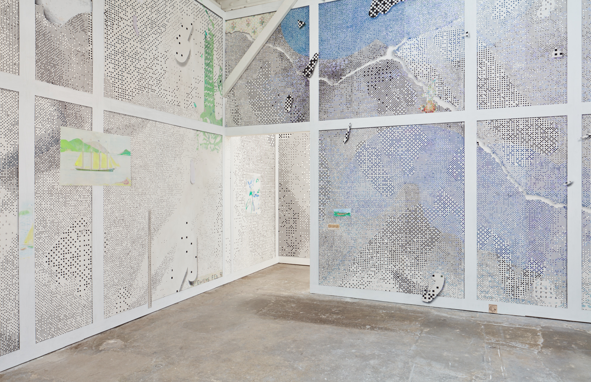 Installation view, Laura Owens: Ten Paintings at the Wattis Institute for Contemporary Art, San Francisco, 2016. Courtesy of the artist and the Wattis Institute for Contemporary Art.