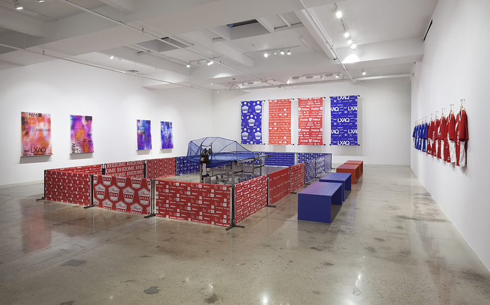 Installation view, Your Logo Here, Jonas Lund at Steve Turner, Los Angeles, 2016. Courtesy of Steve Turner.