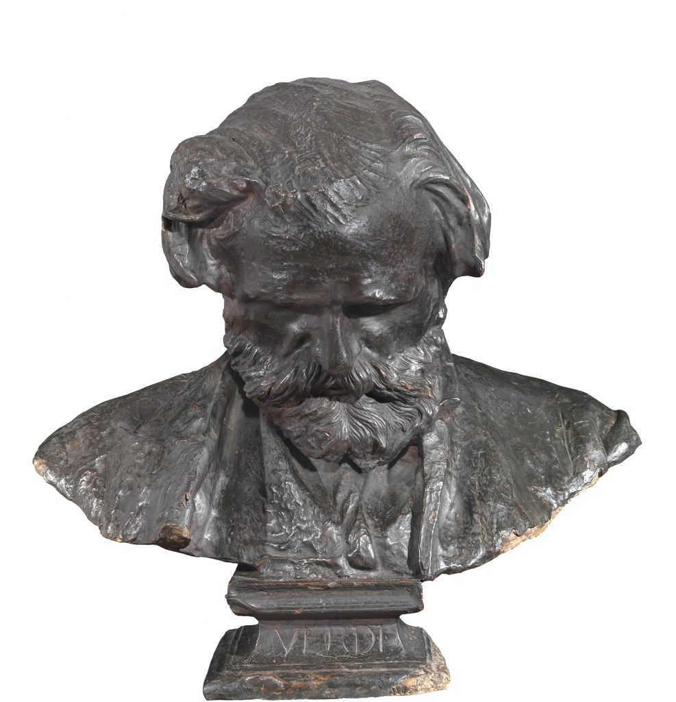 Vincenzo Gemito, Portrait of Guiseppe Verdi, 1873, bust made of beeswax, red wax and pigmented wax with a bronze appearance on a plaster core, 22 ⅘ x 24 ⅕ x 12 in. Private Collection