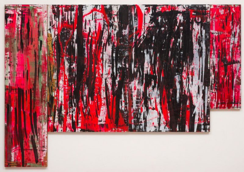 Ed Moses, Red W-L, 1982. Acrylic on wood panels, 84 x 122 in. Courtesy of Albertz Benda and The Artist