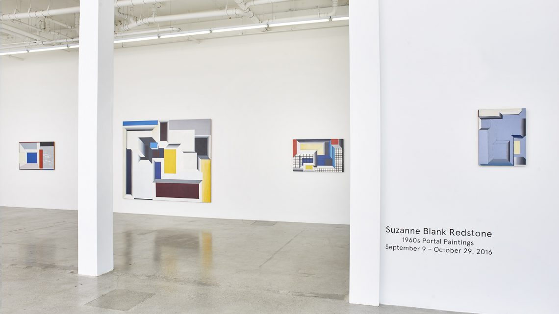 Installation view, 1960s Portal Paintings, Suzanne Blank Redstone at Jessica Silverman Gallery, San Francisco, 2016. Courtesy of Jessica Silverman Gallery.