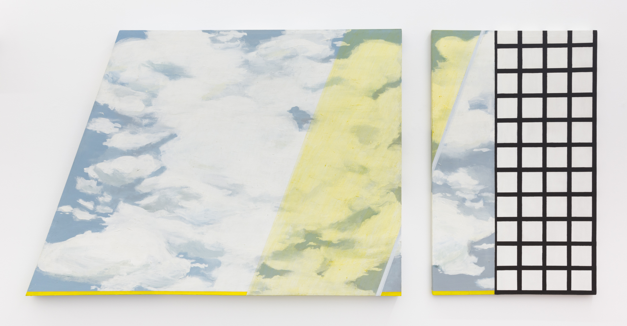 Yellow Filter: Diptych, 1966. Acrylic on shaped canvas, 45.25 x 98.4 inches. Courtesy of Jessica Silverman Gallery.