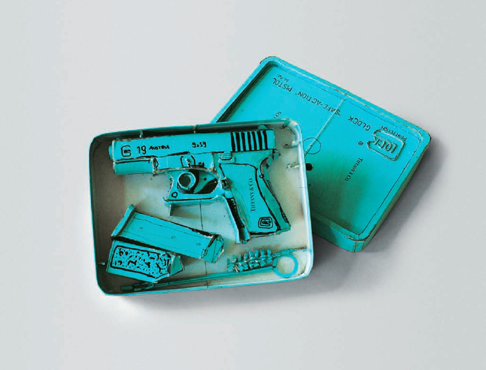 Tiffany Glock (Model 19), 1995. Cardboard, thermal adhesive, and ink, 2.5 x 6.5 x 9 inches. Courtesy of the artist.