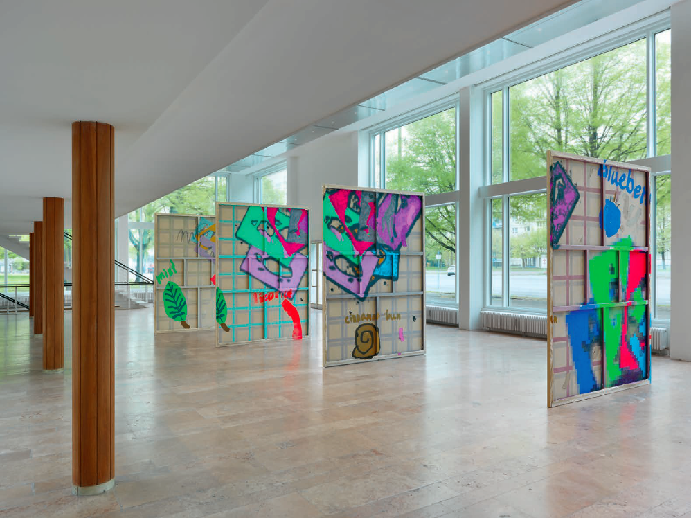 Installation view, Laura Owens at Capitain Petzel, Berlin, 2015. Courtesy of the artist and Capitain Petzel.