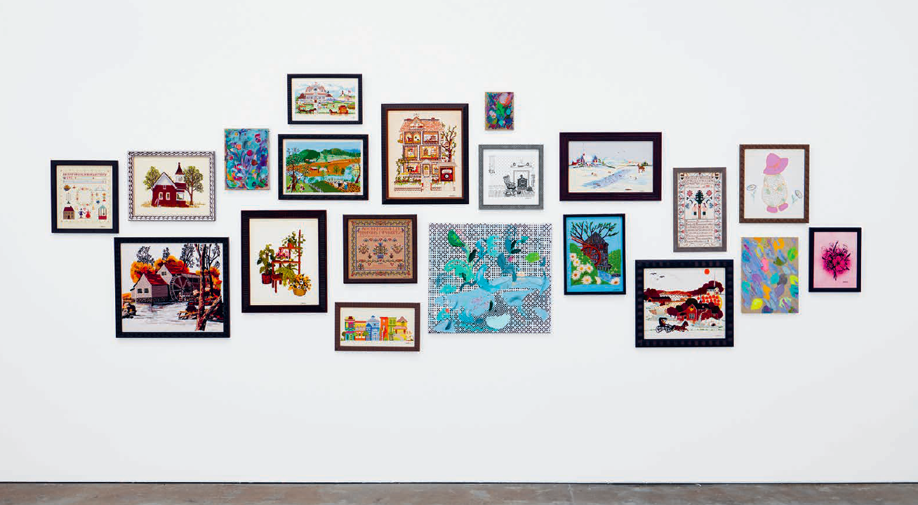 Installation view, Laura Owens: Ten Paintings at the Wattis Institute for Contemporary Art, San Francisco, 2016. Second gallery view, with paintings by Laura Owens and embroideries by Eileen Owens. Courtesy of the artist and the Wattis Institute for Contemporary Art.