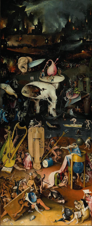 Hieronymus Bosch, The Garden of Earthly Delights (detail), 1490-1510. Oil on oak panels, 87 × 38.4 inches. Collection of Museo del Prado, Madrid. Courtesy of the Internet.