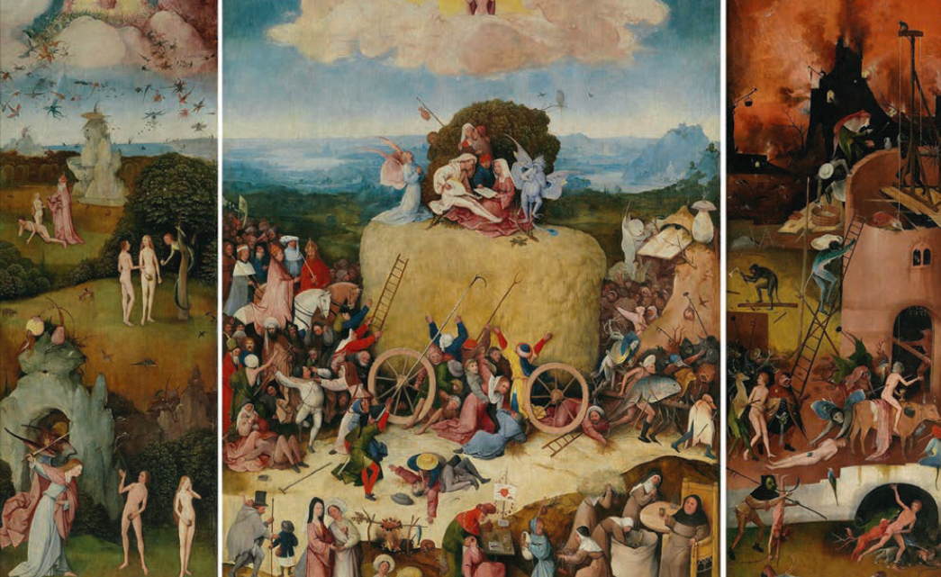 Hieronymus Bosch, The Haywain triptych, 1516. Oil on oak panels, 53 × 79 inches. Collection of Museo del Prado, Madrid. Courtesy of the Internet.