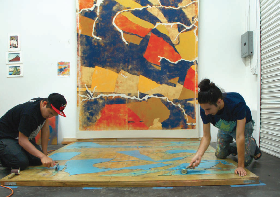 Process photograph taken at Kour Pour's studio in Inglewood, California, 2015. Courtesy of the artist.