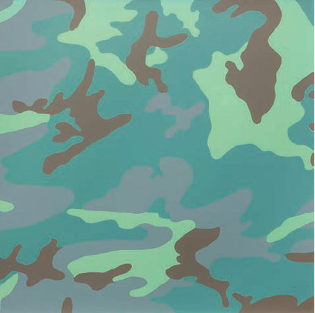 Andy Warhol, Camouflage, 1986. Synthetic polymer paint and silkscreen ink on canvas., 40 x 40 inches. Courtesy of the Internet.