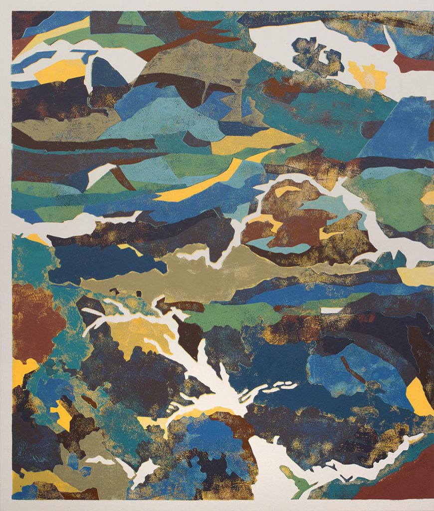 California Roll, 2015. Block printing ink on canvas, 87.5 x 71.5 inches. Courtesy of the artist.