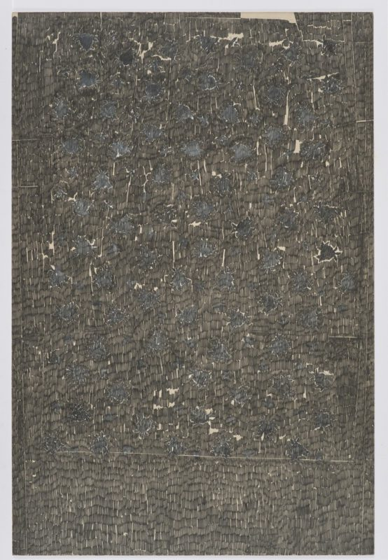 Ed Moses, Rose #6, 1963. Graphite and Acrylic on Chip Board, 60 x 40 inches.