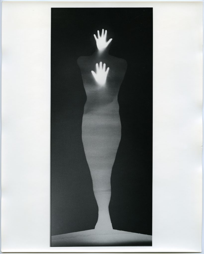 Bruce Conner and Edmund Shea, SOUND OF TWO HAND ANGEL, 1974. Gelatin silver print; 88 × 37 inches. Collection of Tim Savinar and Patricia Unterman; © 2016 Conner Family Trust, San Francisco / Artists Rights Society (ARS), New York. Courtesy of the San Francisco Museum of Modern Art.