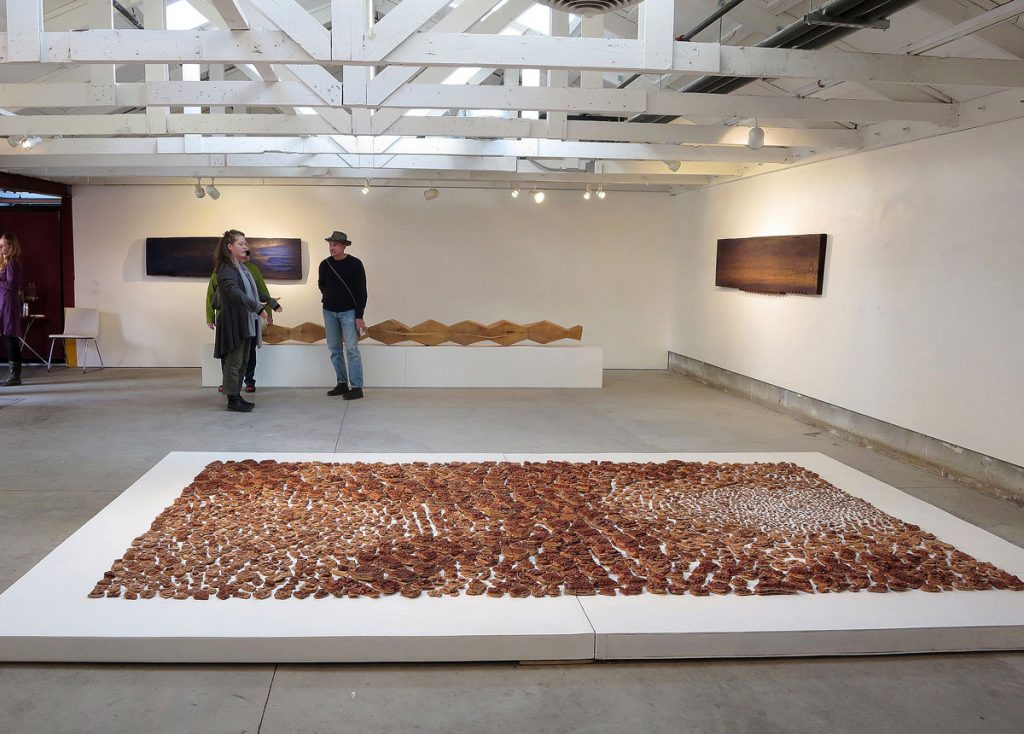 Becky Evans, Dry Lake - Prayer Rug for Climate Change, 2013. Fired lake mud.
