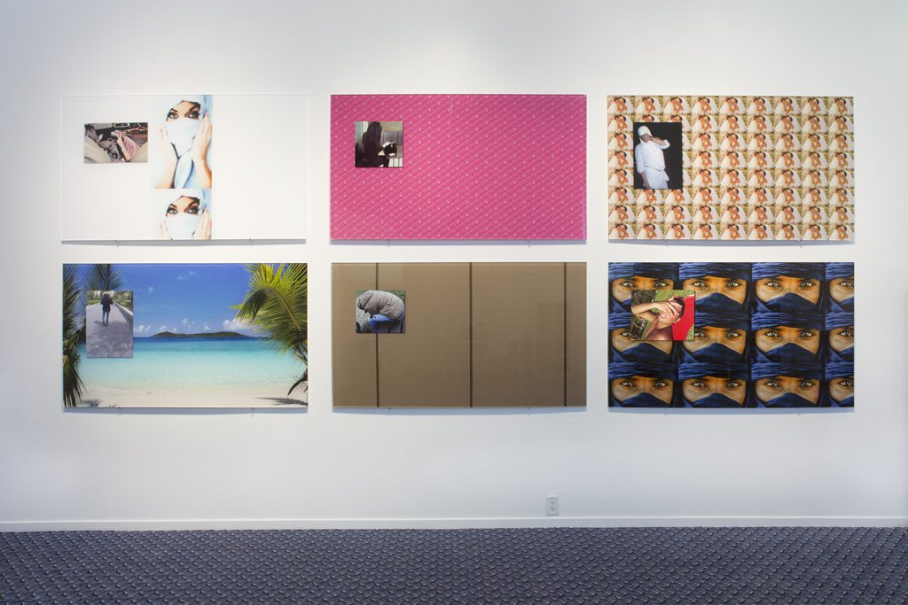 Olia Lialina, Body Class Pimp (from left to right: voelmegoed, damlos, naoualtje89, halim71, gekregen2012, henessy), digital prints mounted to plexiglass, Western Front, 2016. Photo by Maegan Hill-­‐Carroll.