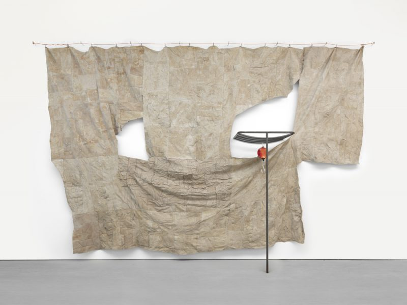 through patches of corn, wheat and mud, 2016. Latex on linen with steel and scale, 174 x 268 x 30.5 inches. Courtesy of David Zwirner.