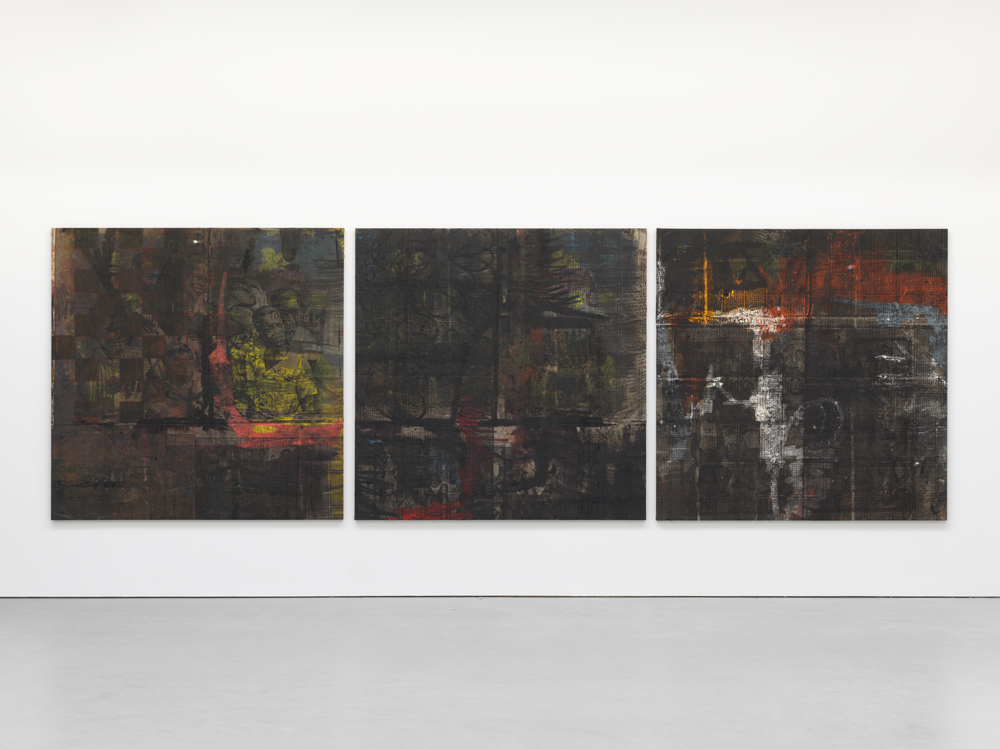 out of many, one people, 2015-2016. Oil, oil stick, and graphite on canvas and linen. Overall: 78.75 x 242.5 inches. Canvas, each: 78.75 x 78.75 inches. Courtesy of David Zwirner.