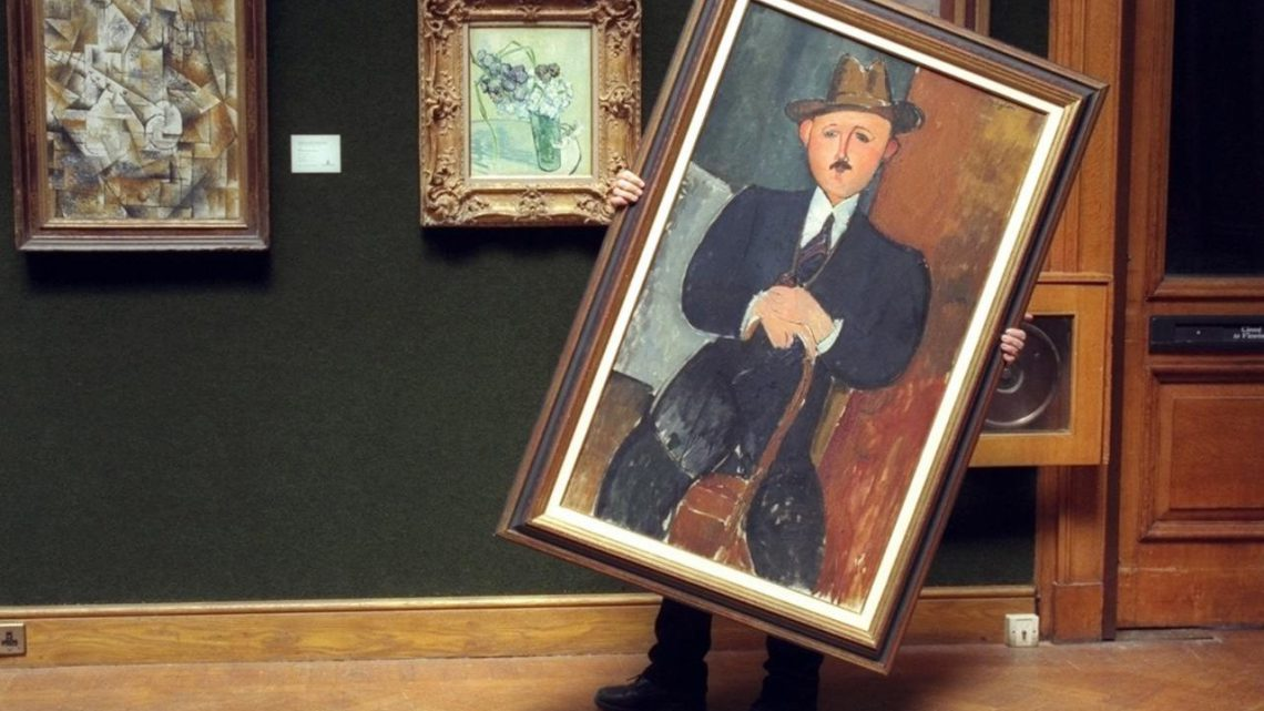 Amedeo Modigliani, Seated Man with a Cane, 1918. Oil on canvas, 50 × 30 inches. Courtesy of the Internet.