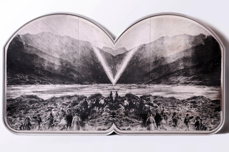 Mat Chivers, Illuminati, 2011. Chemical etching and pigment on stainless steel, aluminium frame, 100 x 180 centimeters. Courtesy of Autistica.