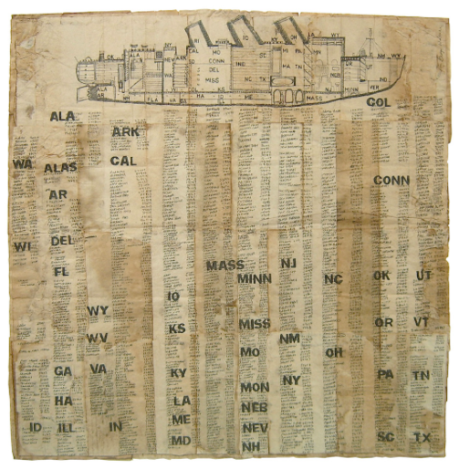 George Widener, Census Ship, 2004. Ink on found paper, 26 x 24 inches. Courtesy of Autistica.