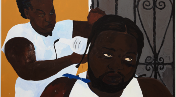 Henry Taylor, Gettin It Done, 2016. Acrylic on canvas, 72 x 96 x 2 1/4 inches. Courtesy of Blum & Poe