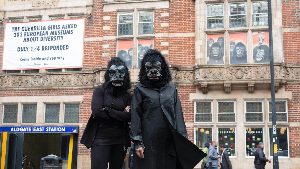 Installation view, Is it even worse in Europe?, the Guerrilla Girls at Whitechapel Gallery, London, 2016. Photograph by David Parry/PA Wire. Courtesy of Whitechapel Gallery.