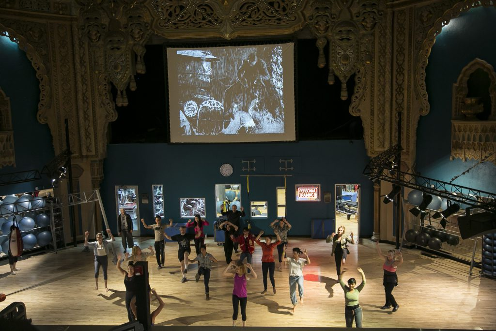 Audience participating in the Alhambra 1926-1996 exercise class. Courtesy the artists.