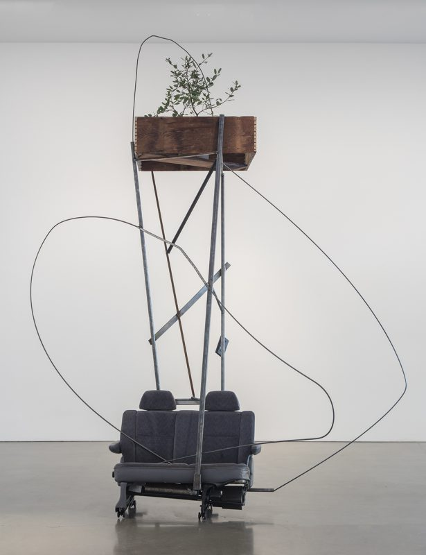 Abraham Cruzvillegas, Autoconcanción III, 2016. Steel, wood, plants, cloth, vinyl, plastic, metal, elastic, polyester, portable radio. Photo Credit: Brian Forrest. Courtesy Regen Projects, Los Angeles