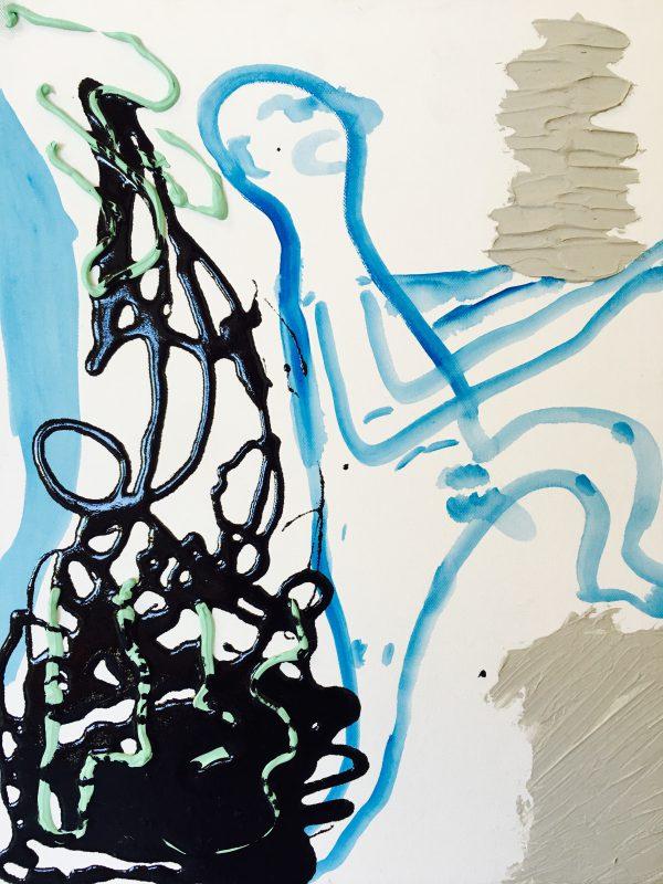 "Micah Wood, Me Serving Squid Ink Pasta, 2016. Cel-vinyl, rubber, concrete, acrylic on canvas; 20"" x 16"". Courtesy of Johansson Projects"