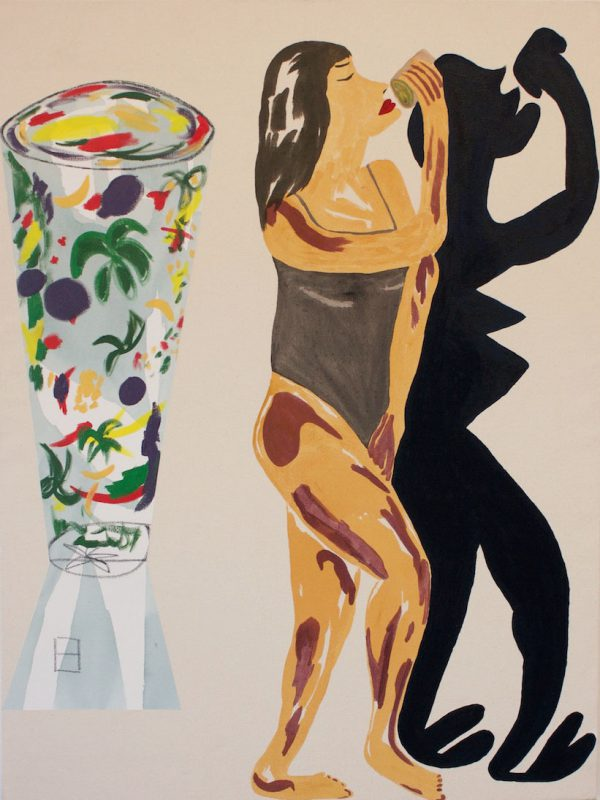 """Micah Wood, My Skin Looks Radiant After My Morning Smoothie, 2016. Flashe, acrylic, charcoal, oil on canvas; 37 1/2"""" x 50"""". Courtesy of Johansson Projects"""