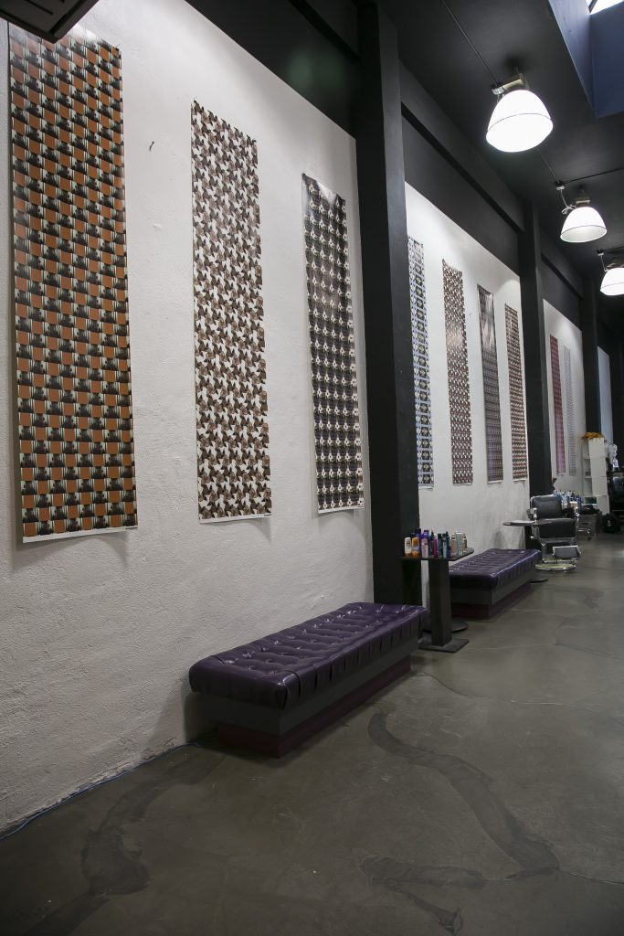 Installation view of Wallpaper Portraits at Backstage Hair Salon. Courtesy the artists