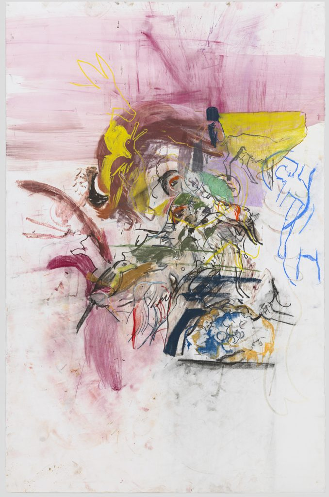 Cecily Brown, Untitled (After Bosch and Boldini), 2015. Watercolor and pastel on paper, 79 x 51 1/2 inches.