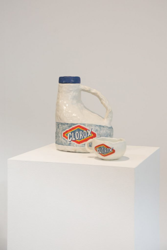 Clorox Teapot & Cup, 2016. Glazed porcelain, teapot: 8 x 6.5 x 5 inches, cup: 4 1/2 x 3.5 x 2 inches. Courtesy of A+E Studios.