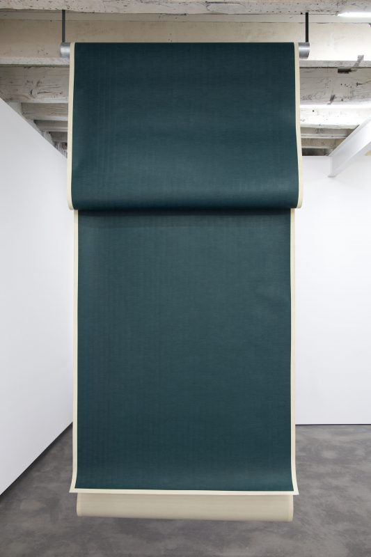 """Zipora Fried, """"All I Thought and Forgot"""" #3 (deep cobalt green), 2016. Colored Pencil on Paper, 312 by 53.5 inches (792.5 by 135.9 cm). Courtesy of the artist and On Stellar Rays. Photo credit Kirsten Kilponen."""