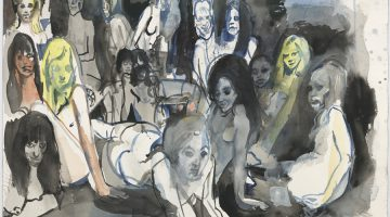 Cecily Brown, Untitled (Ladyland), 2012. Watercolor, gouache, and ink on paper, 18 1/8 x 24 inches.