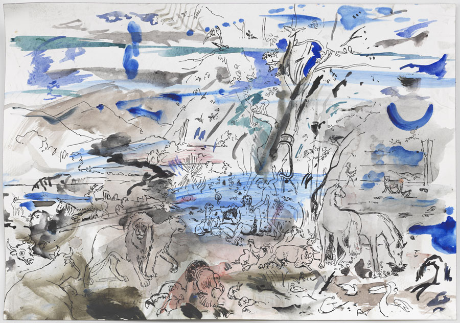 Cecily Brown, Untitled (Paradise), 2014. Watercolor, ink, and ballpoint pen on paper, 14 1/8 by 20 1/8 inches.