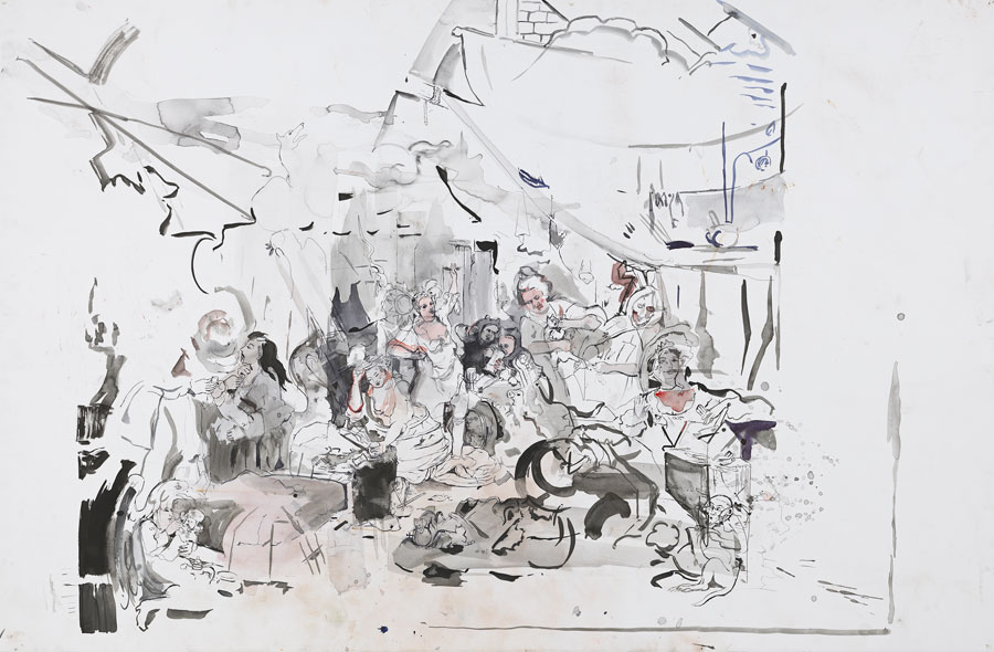 Cecily Brown, Strolling Actresses, 2015. Watercolor and ink on paper. 52 1/2 by 79 inches.