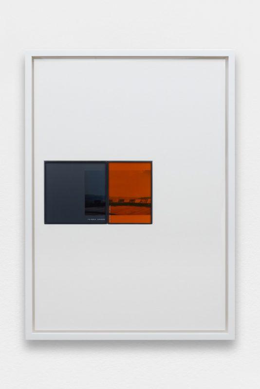 Colin Snapp, IRND Platinium/Amber/2, 2016. Infared ND lens filters, 35mm konica print. Image: 65 x 47 cm. Photo: Aurélien Mole. Courtesy the artist and Galerie Allen, Paris