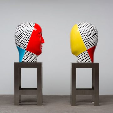 Jun Kaneko Untitled, Heads, 2016. Hand glazed cast rake ceramics, approximately 69 x 25 x 20 inches (each). Courtesy of Rena Bransten Gallery. Jun Kaneko: Paintings and Sculpture opens Saturday, November 5, with a reception from 5-7 pm.