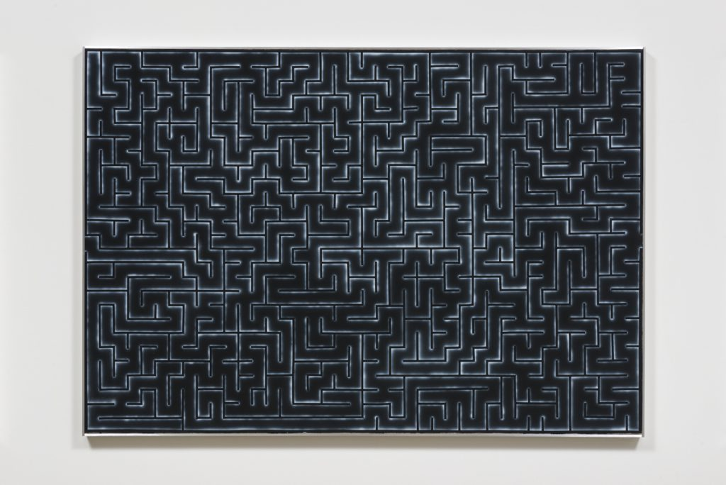 Zoe Barcza, Bob, Level Bob, 2016. Acrylic on canvas and aluminum artist frame. 63 x 43.3 x 1.75 inches. Courtesy the artist and Ghebaly Gallery, Los Angeles. Photo: Jeff McLane
