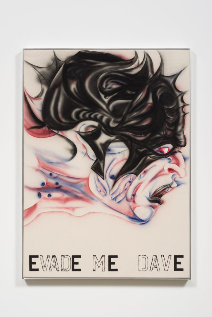 Zoe Barcza, Evade Me, Dave, 2016. Acrylic on canvas and aluminum artist frame. 31.5 x 43.3 x 1.75 inches. Courtesy the artist and Ghebaly Gallery, Los Angeles. Photo: Jeff McLane